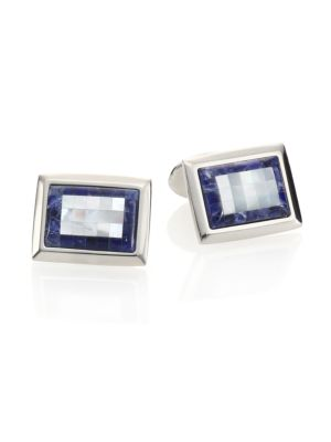 DAVID DONAHUE | Sterling Silver, Sodalite & Mother of Pearl Cuff Links | Goxip