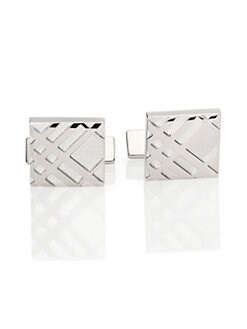 Burberry - Embossed Check Square Cuff Links