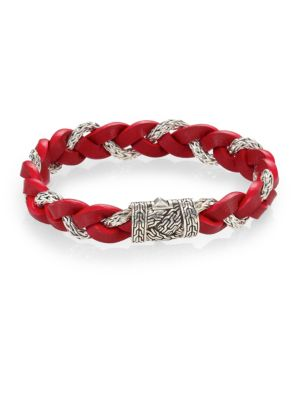 Leather and Silver Braided Bracelet