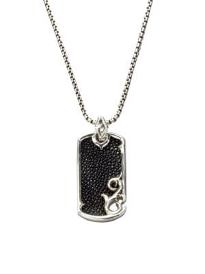 Leather & Silver Dogtag Necklace