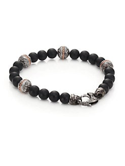 Stephen Webster - Engraved Silver/Onyx Bracelet