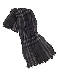 Burberry - Tonal Checked Crinkle Scarf