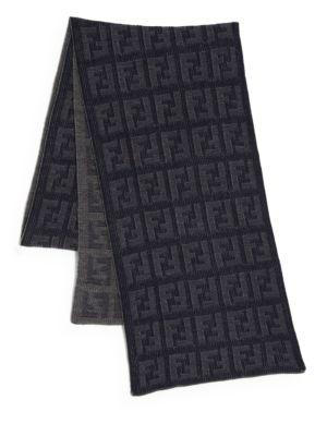 Logo Knit Wool Scarf