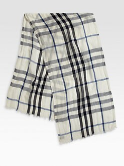 Burberry - Check Linen Silk Scarf