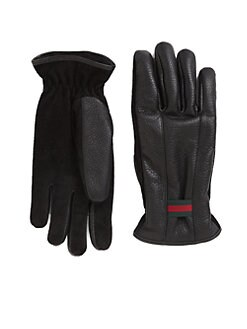 Gucci - Web Detail Leather Gloves