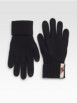 Burberry - Ribbed Cashmere Knit Gloves