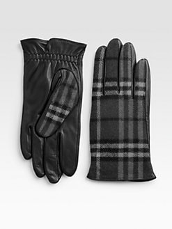 Burberry - Wool Check Gloves