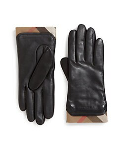 Burberry - Cashmere Check-Lined Leather Gloves