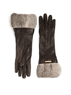 Burberry - Juliette Rabbit Fur-Trimmed Leather Gloves
