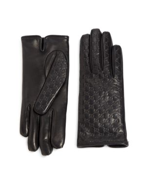 gucci female logoembossed leather gloves