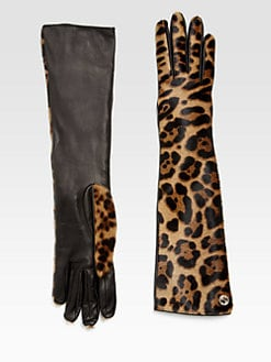 Gucci - Leopard-Print Haircalf and Leather Gloves