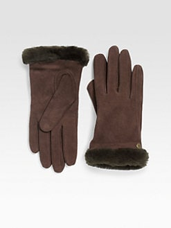 UGG Australia - Shearling Trimmed Suede Gloves