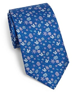 Salvatore Ferragamo - Ramage Squirrel Print Silk Tie <br>