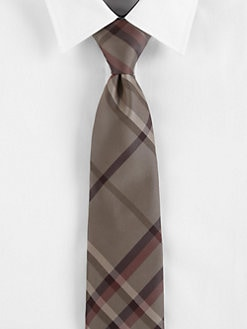 Burberry London - Taupe Brown Check Tie