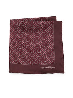 Salvatore Ferragamo - Gancini Print Silk Pocket Square