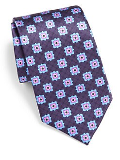 Brioni - Square-Print Silk Tie