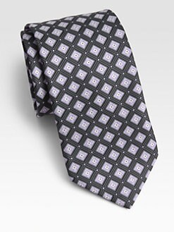 Ike Behar - Grid-Patterned Silk Tie