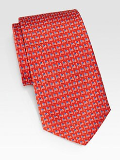 Salvatore Ferragamo - Flag Print Silk Tie