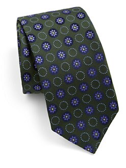 Eton of Sweden - Circle Flower Medallion Silk Tie