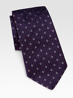 Salvatore Ferragamo - Gancini Logo and Dot Silk Tie