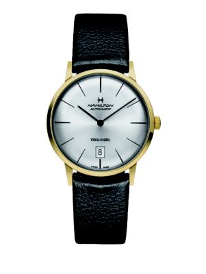 HAMILTON American Classic Intra-Matic Auto Goldtone Stainless Steel & Leather Strap Watch