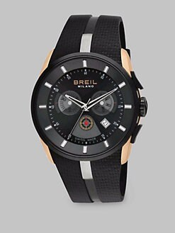 Breil - Stainless Steel Chronograph Rubber Strap Watch