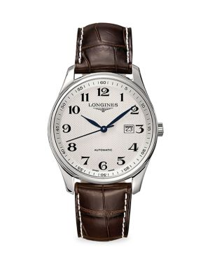 Master Collection Round Leather Strap Watch
