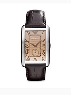Emporio Armani - Rectangular Stainless Steel Watch/Brown Crocodile Embossed Leather