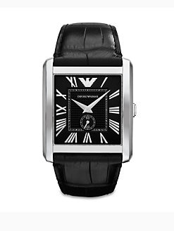 Emporio Armani - Rectangular Stainless Steel Watch/Crocodile Embossed Leather