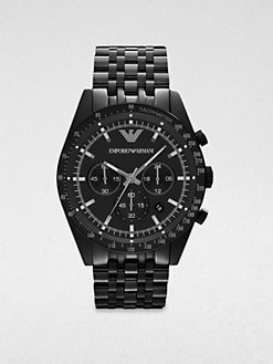 Emporio Armani - Black IP Stainless Steel Chronograph Watch