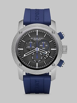 Burberry - Chronograph Watch with Rubber Strap