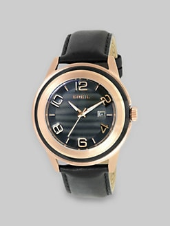 Breil - Rose Gold IP and Black Leather Watch