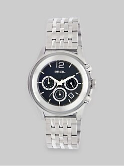 Breil - Stainless Steel and Black Three-Chronograph Watch