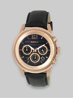 Breil - Rose Gold IP and Black Leather Three-Chronograph Watch