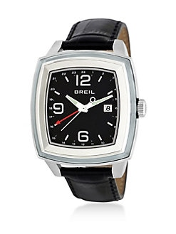 Breil - Dual Time Croc-Embossed Leather  Watch