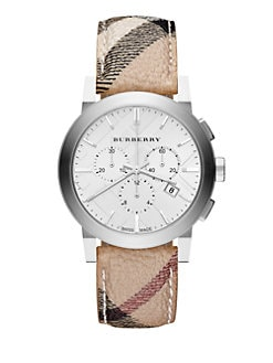 Burberry - Check Stainless Steel Chronograph Watch