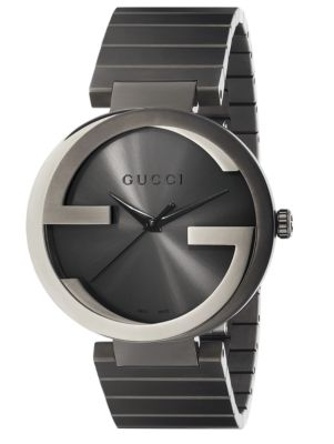 gucci male interlocking g grey pvd watch