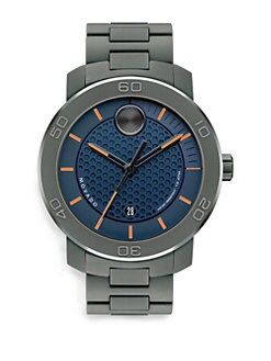 Movado - Extra Large Bold Watch/Dark Blue & Orange