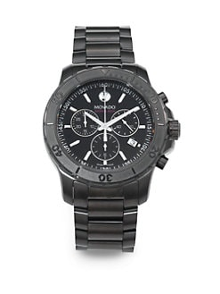 Movado - Black PVD-Finished Stainless Steel Chronograph Watch