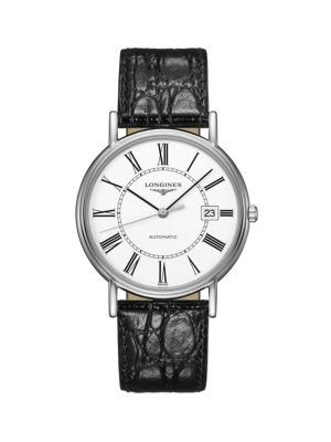 Présence Collection Stainless Steel Leather-Strap Watch