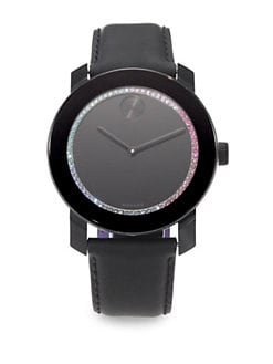 Movado - Crystal, Stainless Steel & Leather Watch