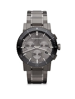 Burberry - Grey IP Stainless Steel Chronograph Watch