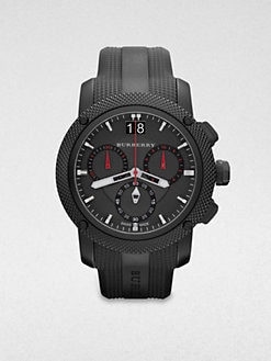 Burberry - Black IP Stainless Steel & Rubber Chronograph Watch