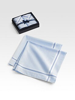 Derek Rose - Bordered Handkerchiefs, Set of 2/Check