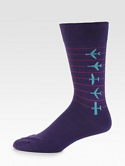 David Hart & Co. - Cotton-Blend Airplane Socks