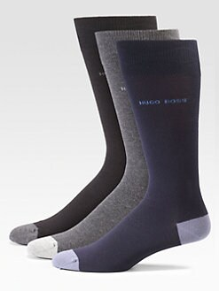 BOSS Black - Cotton-Blend Dress Socks/3-Pack