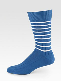 Marcoliani - Striped Cotton-Blend Socks
