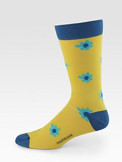 Marcoliani - Flower Print Crew Socks