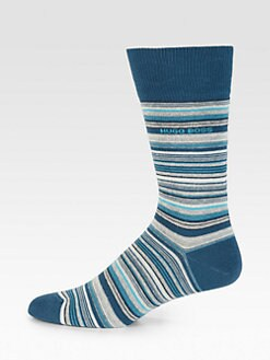 BOSS Black - Striped Cotton-Blend Socks