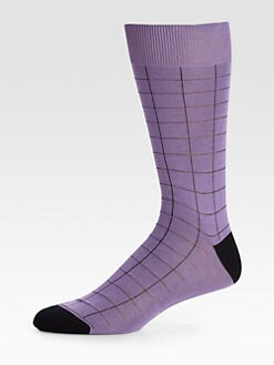 Brioni - Windowpane Cotton Dress Socks